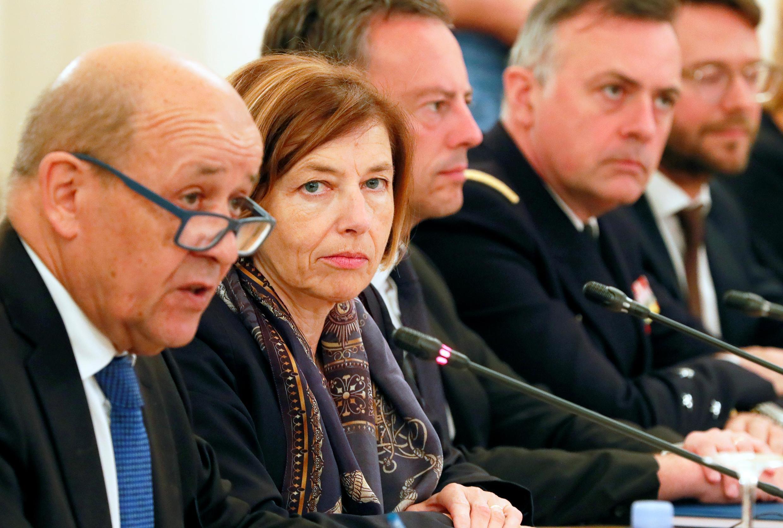 Từ trái qua:  Ngoại trưởng Pháp Yves Le Drian, bộ trưởng Quân lực Pháp Florence Parly trong cuộc họp Hội đồng hợp tác an ninh Pháp-Nga (2+2), Matxcơva, Nga, ngày 09/09/2019