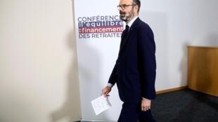 Le Premier ministre français Édouard Philippe lors du lancement de la conférence de financement des retraites, le 30 janvier 2020.