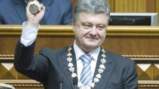 Tổng thống đắc cử Ukraina, ông Petro Poroshenko trong lễ tuyên thệ nhậm chức tại Quốc hội ở Kiev ngày 07/06/2014.