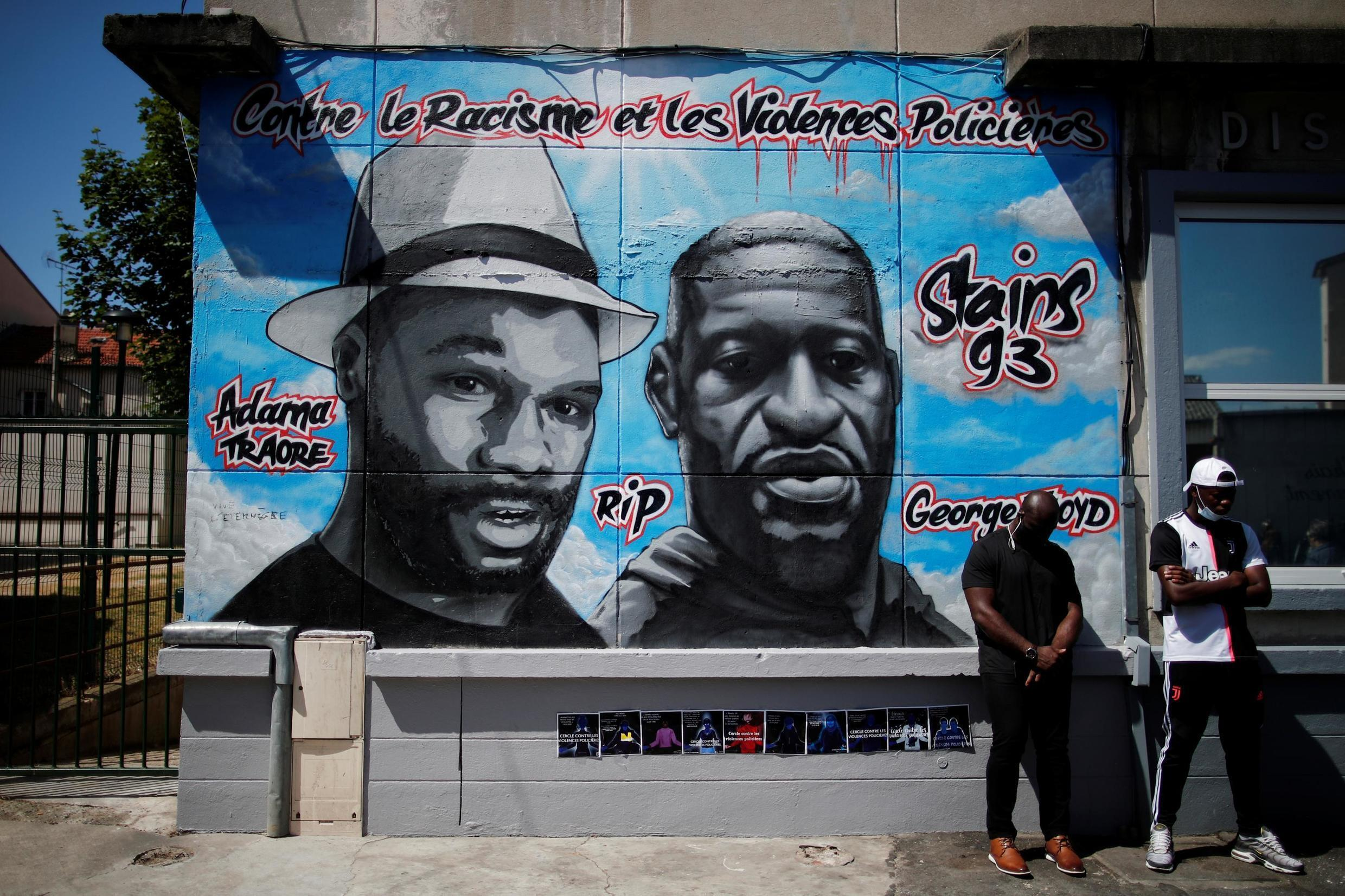 A mural paying tribute to George Floyd and Adama Traoré before it was vandalized, in Stains, in the Paris suburbs, on June 22, 2020.