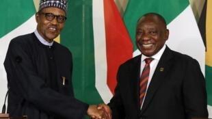 Shugaban Najeriya Muhammadu Buhari da takwaransa na Afrika ta Kudu Cyril Ramaphosa.