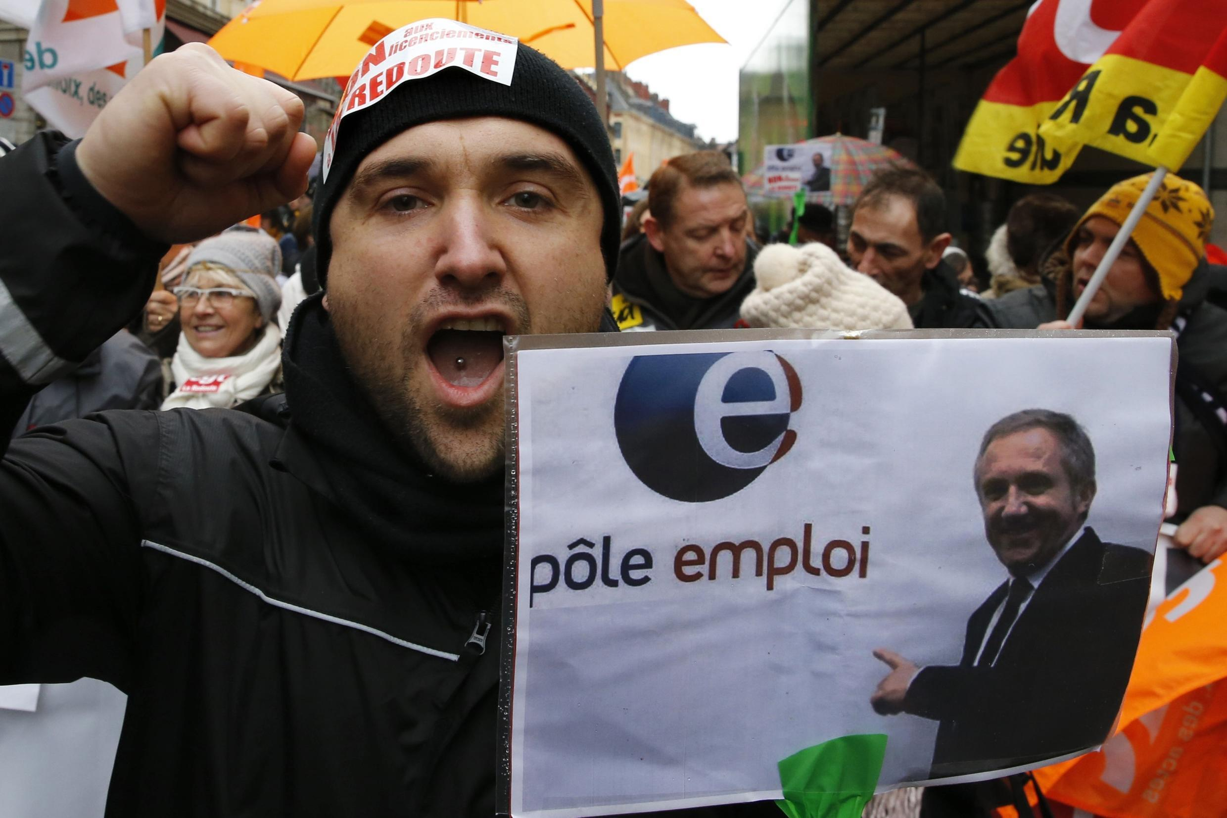 Employees of mail order clothing company La Redoute demonstrate against job losses in Lille in January
