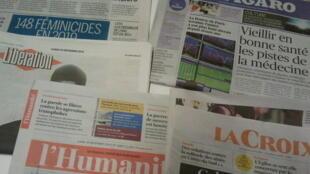 Primeiras páginas dos jornais franceses 30 de dezembro de 2019