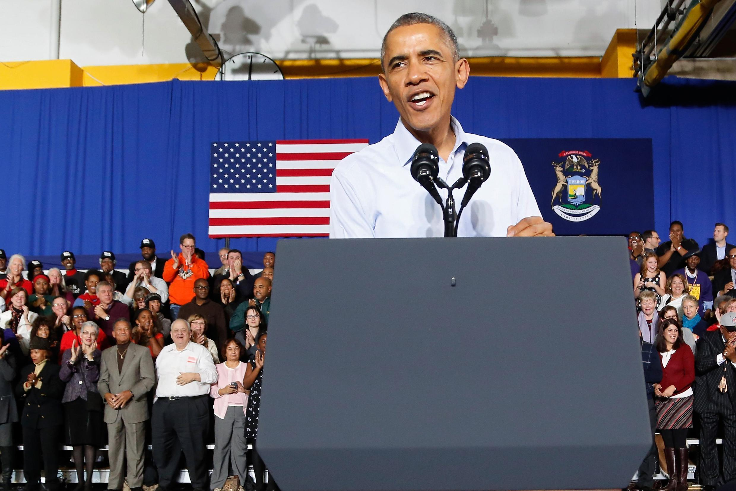 Tổng thống Barack Obama trong cuộc mitting vân động bầu cử tại Detroit, tiểu bang Michigan ngày 1/11/2014.
