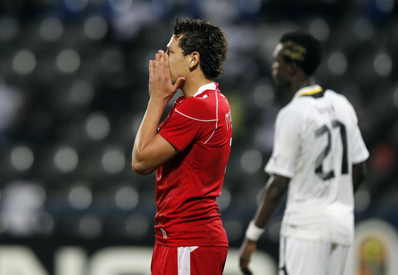 Youssef Msakni après la défaite de la Tunisie face au Ghana, le 5 février 2012.