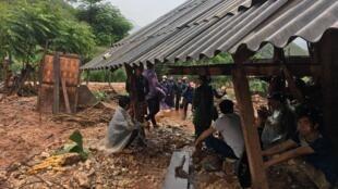 Một căn nhà của người dân Quản Bạ, Hà Giang bị hư hại vì nước lụt và đất lở. Ảnh chụp ngày 26/06/2018.