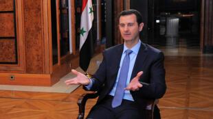 Le président syrien Bachar el-Assad, durant l'interview accordé à l'AFP, le 19 janvier 2014.