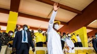 Alpha Condé lors de son dernier meeting de campagne, le 16 octobre 2020 à Conakry.