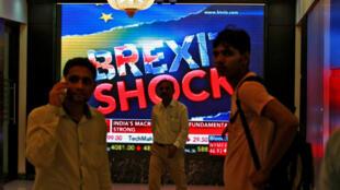 圖為印度孟買股市受英國公投結果衝擊