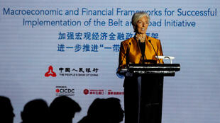 Tổng giám đốc Quỹ Tiền Tệ Quốc Tế (IMF) Christine Lagarde phát biểu tại Diễn đàn Bát Ngao (Boao) ở Bắc Kinh, 12/04/2018.
