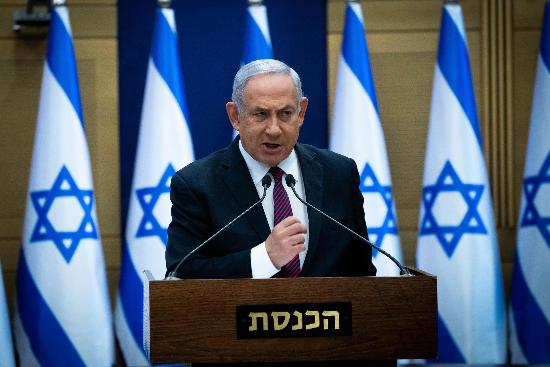 El primer ministro Benjamin Netanyahu habla ante los diputados de su partido el 2 de diciembre de 2020 en Jerusalén