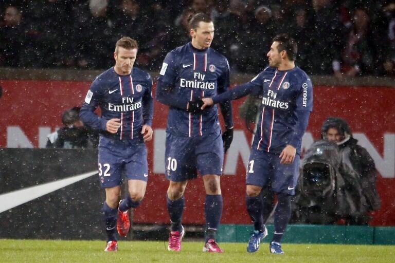 Beckham, Ibrahimovic e Lavezzi  comemoram vitória contra o Olympique de Marselha. le, dimanche 24 février au Parc des Princes.
