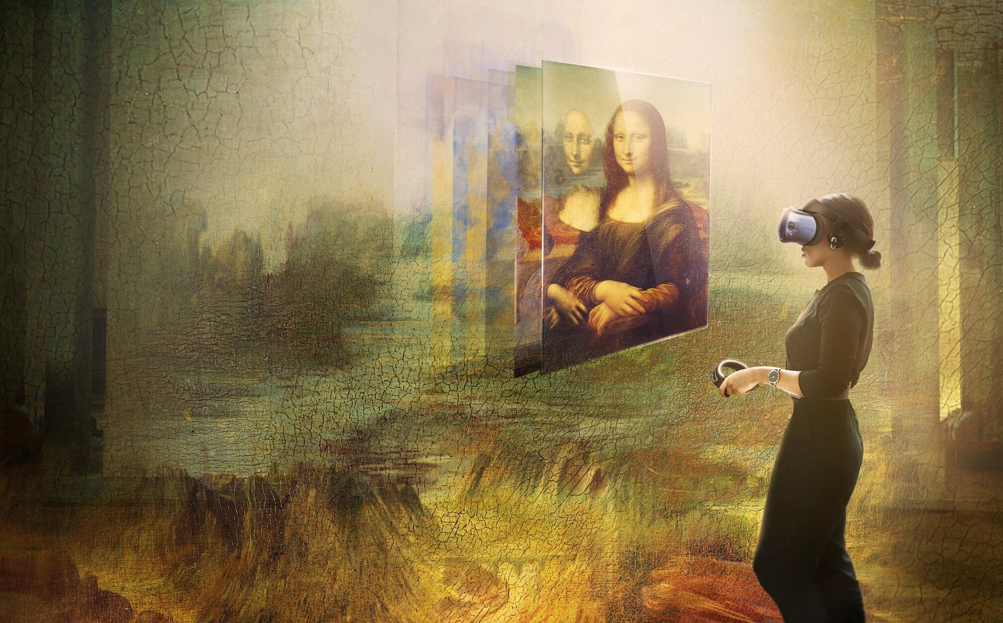 Still from Mona Lisa: Beyond the Glass. A part of the Leonardo da Vinci retrospective at the Louvre museum in Paris that closed in January 2020, breaking the Louvre's all-time attendance record.