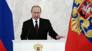 Tổng thống Nga Vladimir Putin đọc thông điệp Liên bang hàng năm, tại điện Kremlin, Matxcơva, 12/12/2013