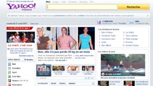 La page d'accueil du portail internet Yahoo! France.