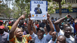Apoiantes do partido queniano National Super Alliance (NASA) liderado por Raila Odinga, 1 de Setembro de 2017