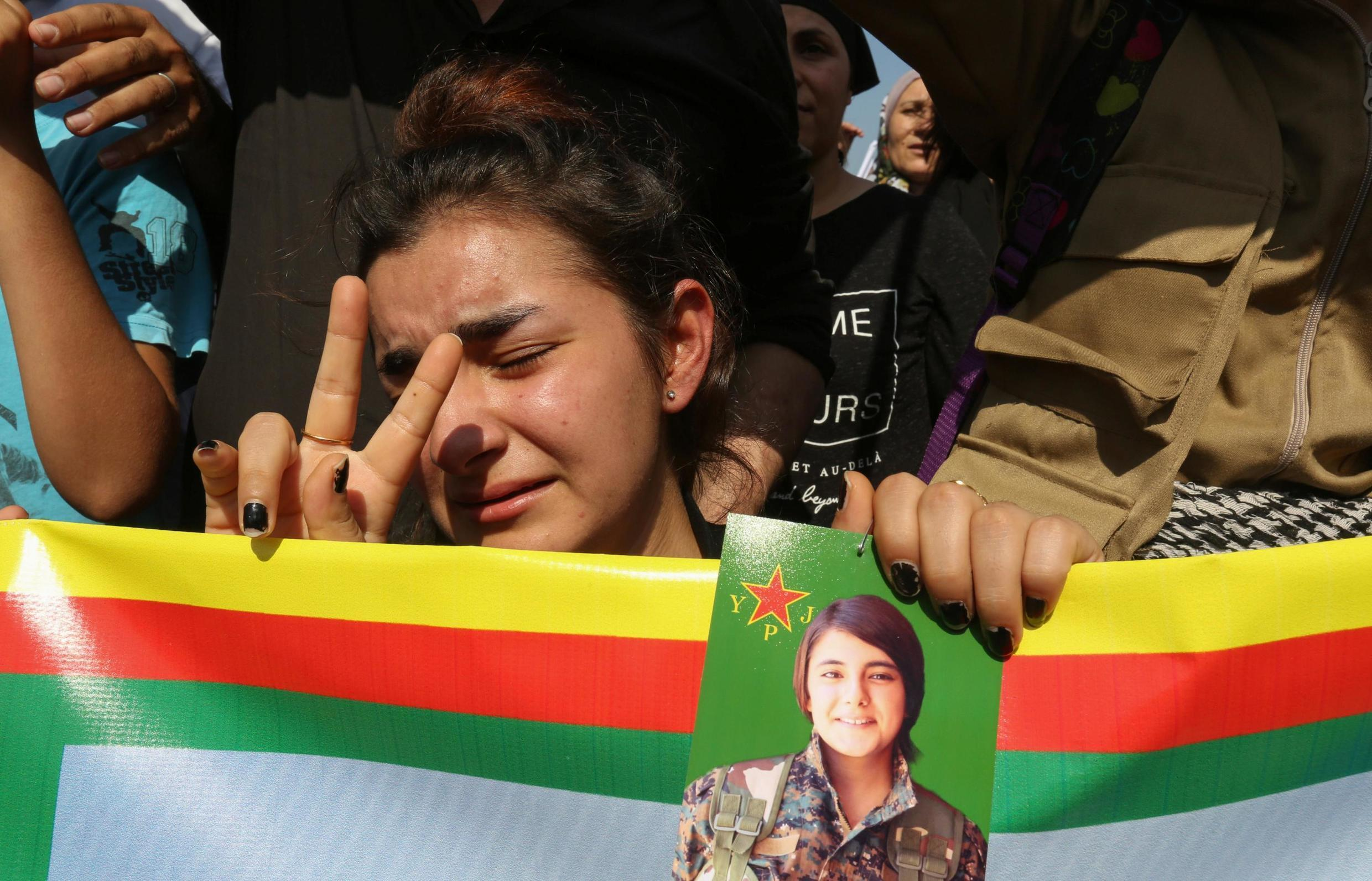 Kurds living in Lebanon protest against Turkey's military action in northeastern Syria, in Beirut, Lebanon October 13, 2019.