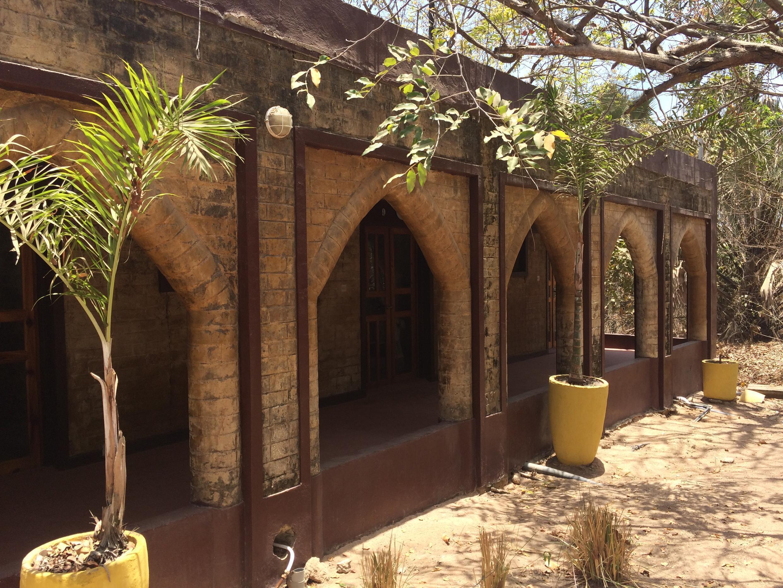 Building constructed from compressed earth bricks at Sandele resort.