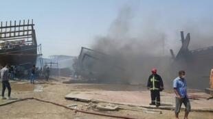 شناورسازی بندر بوشهر پس از آتش سوزی.