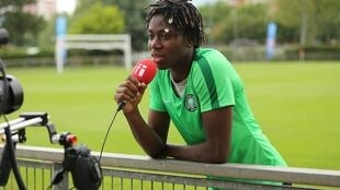 Striker for FC Barcelona and Nigeria, Asisat Oshoala at the Women's World Cup in France.