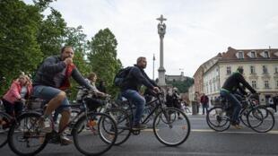 Manifestation à vélo dans les rues de Ljubljana, le 29 mai 2020.