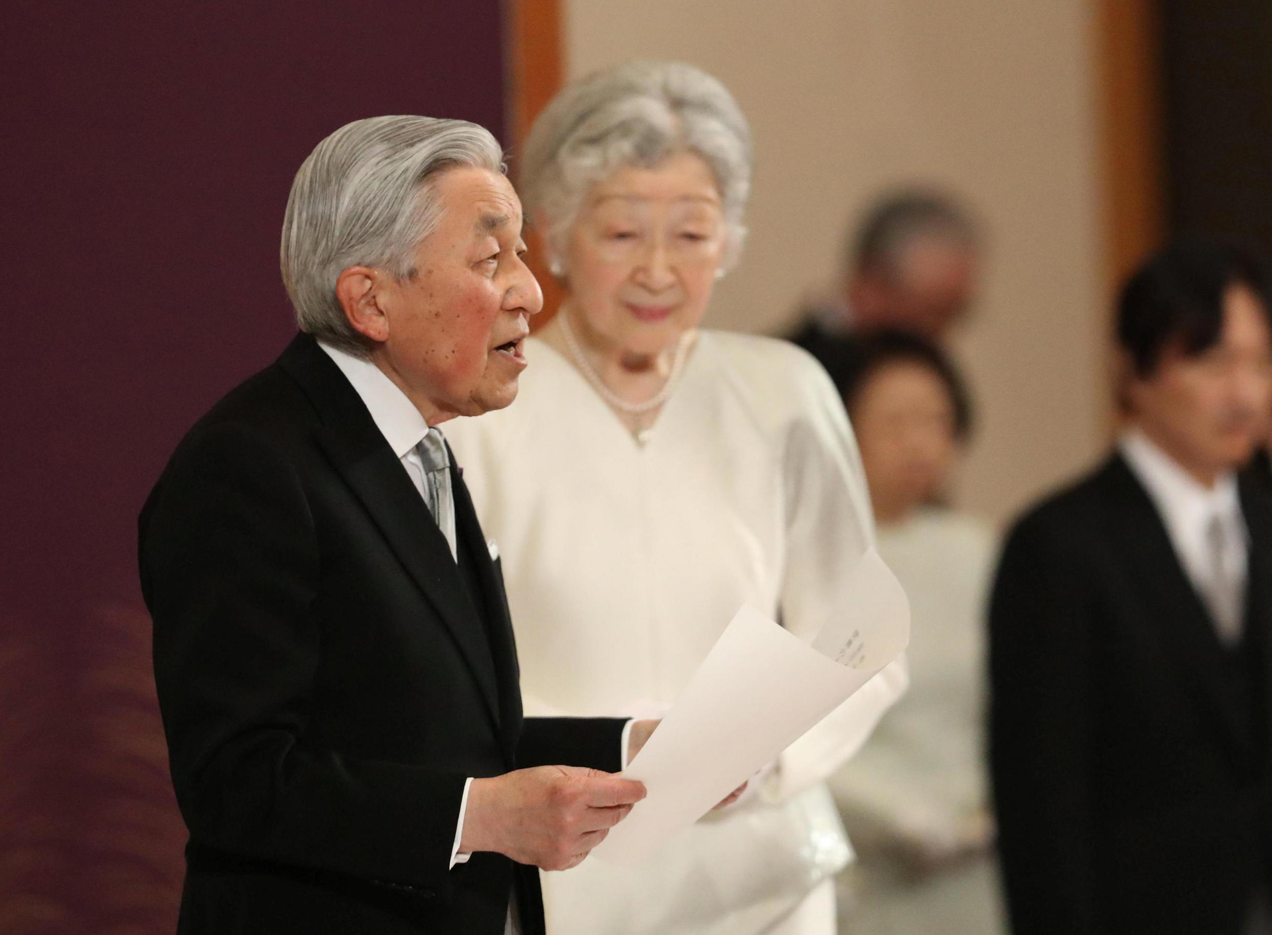 Akihito, here with his spouse Michiko, during the abdication ceremony, April 30, 2019 in Tokyo.