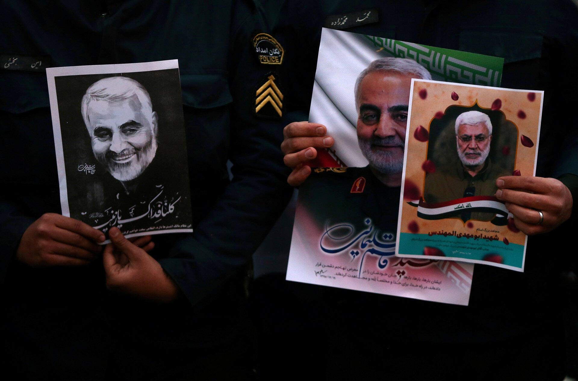 Manifestation contre l'assassinat du major-général iranien Soleimani devant le bureau des Nations unies à Téhéran, 3 janvier 2020.