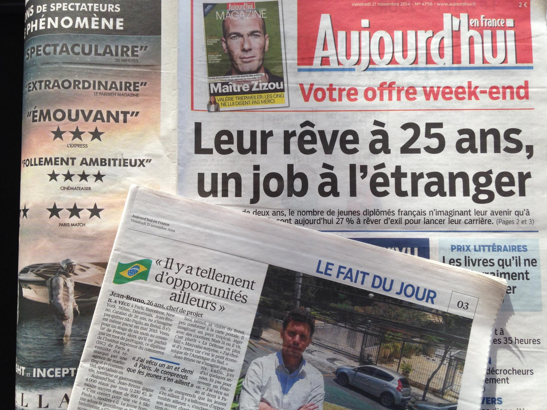 O sonho de encontrar um emprego no exterior foi tema de capa do Aujourd'hui en France.