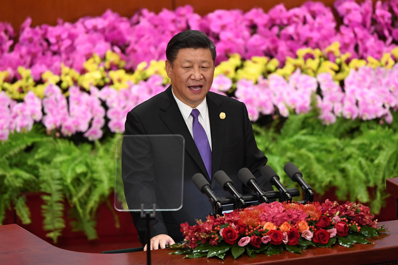 O Presidente Xi Jinping durante a abertura hoje do 3° fórum de cooperação China / África.