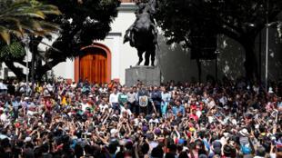 Upinzani ukiandamana mjini Caracas, Venezuela.