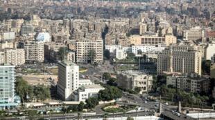 Vue aérienne de la place Tahrir au Caire, avant le début des travaux.