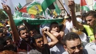 El funeral del palestino Saad Dawabsheh en Duma el 8 de agosto del 2015.