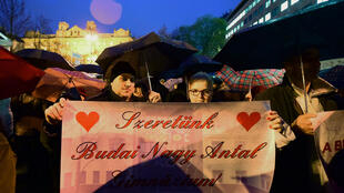 Dans la manifestation, une bannière sur laquelle on peut lire: «auto-détermination pour Budai (le nom d'une école), nous voulons la liberté pour Budai». Budapest, le 3 février 2016..