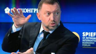 Le milliardaire russe Oleg Deripaska lors du forum économique de Saint-Pétersbourg en 2017.