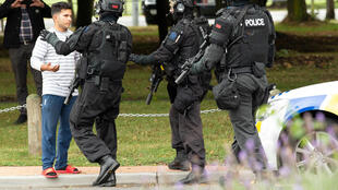 New Zealand security forces on patrol after the attack on two mosques in Christchurch, 15 March 2019