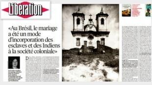 O jornal Libération destaca a relação da igreja católica com o Brasil através do casamento, nesta segunda-feira (17)