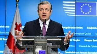 Премьер-министр Грузии Георгий Квирикашвили на пресс-конференции в Европарламенте, Брюссель, 2 декабря 2016.