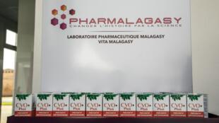 Les gélules de CVO+ présenté lors de l'inauguration de l'usine de Pharmalagasy le 2 octobre 2020 à Antananarivo.