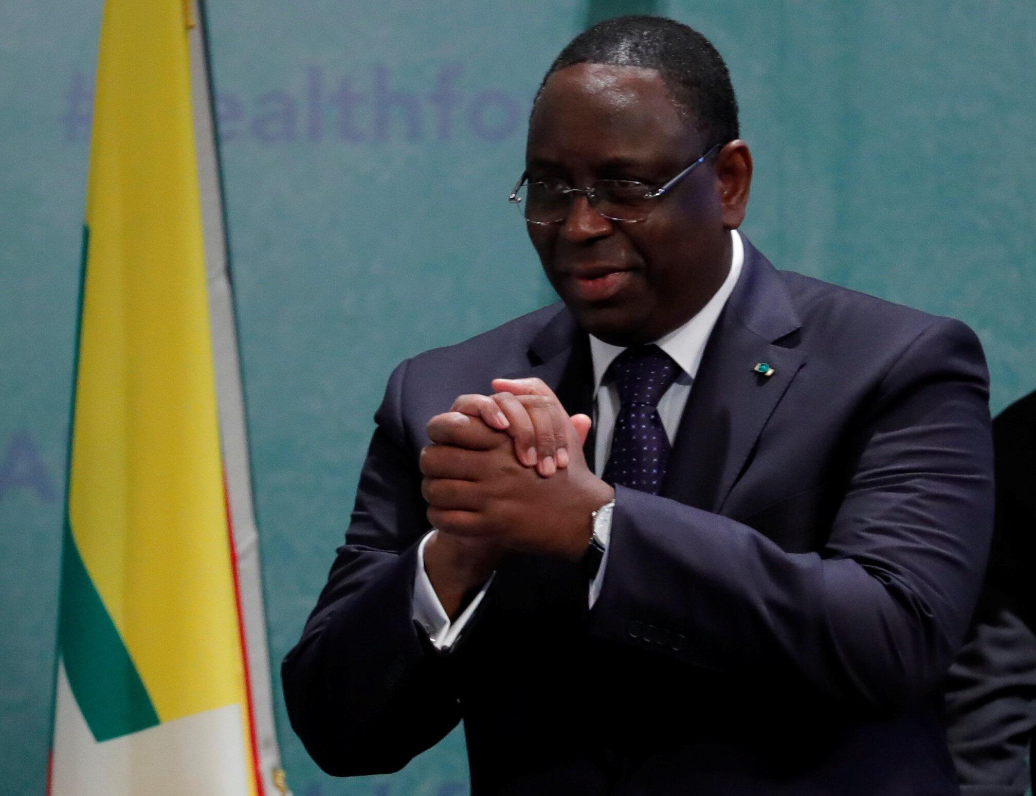 Macky Sall, presidente do Senegal, anfitrião da cimeira da paz universal, em Dacar.