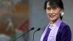Aung San Suu Kyi, líder de la oposición birmana, al recibir el premio Nobel de la Paz en Oslo, el 16 de junio de 2012.