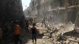Le 17 septembre dernier, dans un quartier d'Alep touché par un bombardement des forces armées syriennes fidèles à Bachar el-Assad.