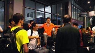 Chegada da delegação chinesa no aeroporto do Rio de Janeiro.