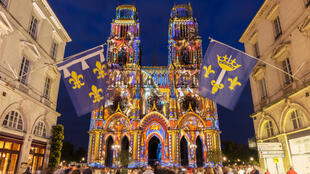 The Sainte-Croix Cethedral in Orleans during a light show