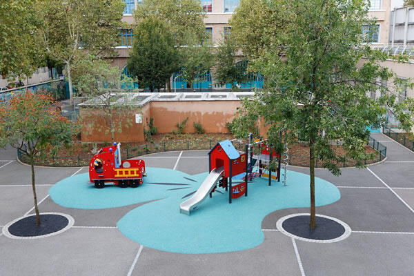 The first 'Oasis' school courtyard prototype, at a preschool in Paris, to offer students and residents a spot with cooler temperatures during heatwaves