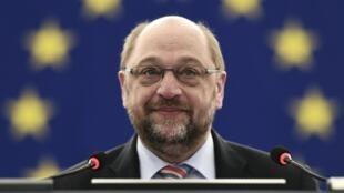 Le président du Parlement européen, Martin Schulz, lors du débat sur le projet d'accord entre l'Union européenne et la Turquie, le 9 mars 2016.