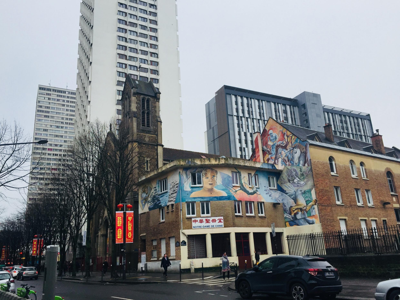 Một nhà thờ trong khu phố châu Á, quận 13 Paris.