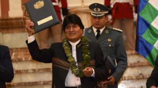 Evo Morales durante la ceremonia de promulgación de la nueva ley, en La Paz, este 8 de marzo de 2017.