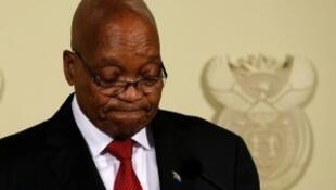 El presidente sudafricano Jacob Zuma, el 14 de febrero de 2018 en Pretoria.