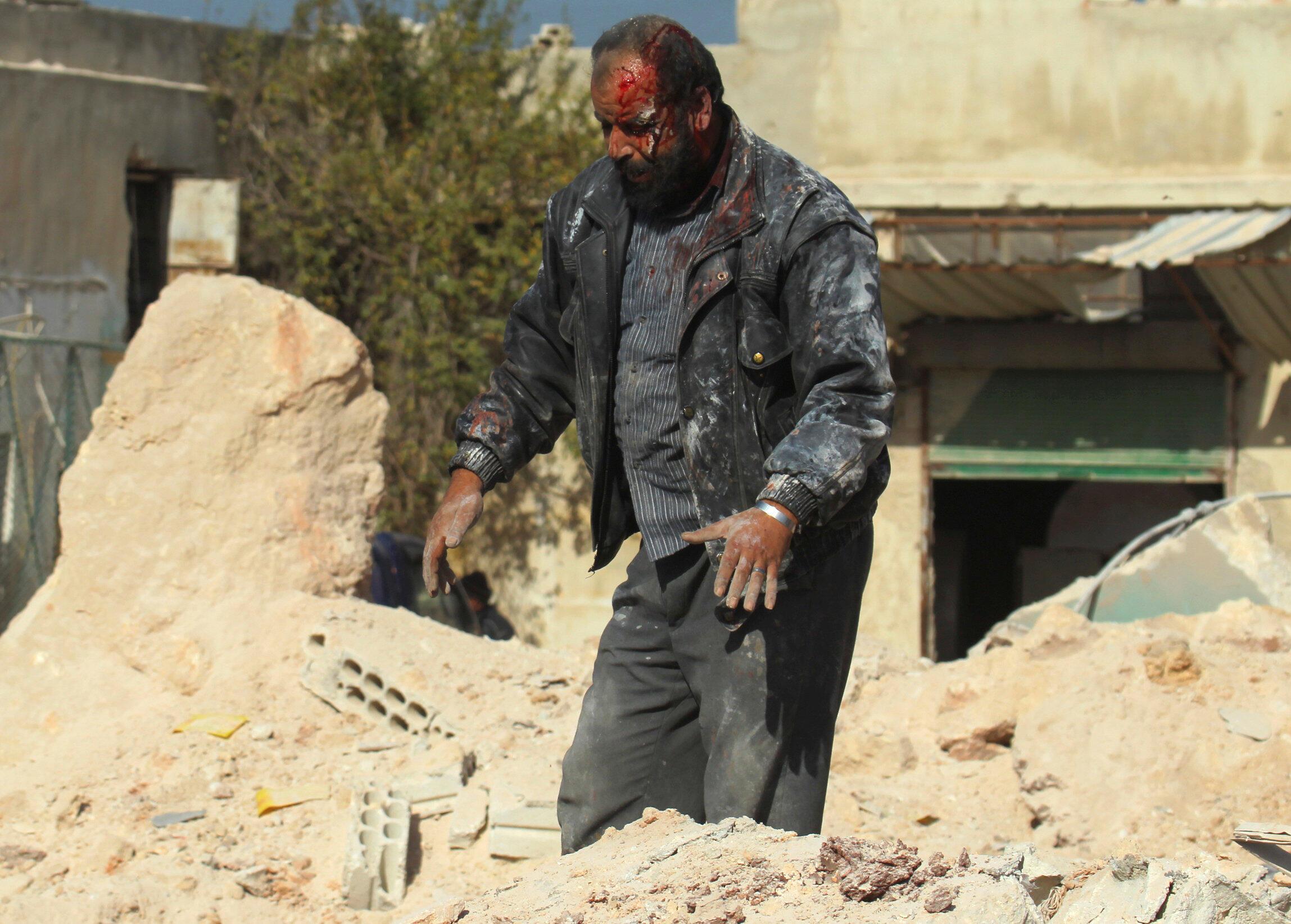 Escena de guerra en Idlib, Siria, 20 de noviembre de 2016.