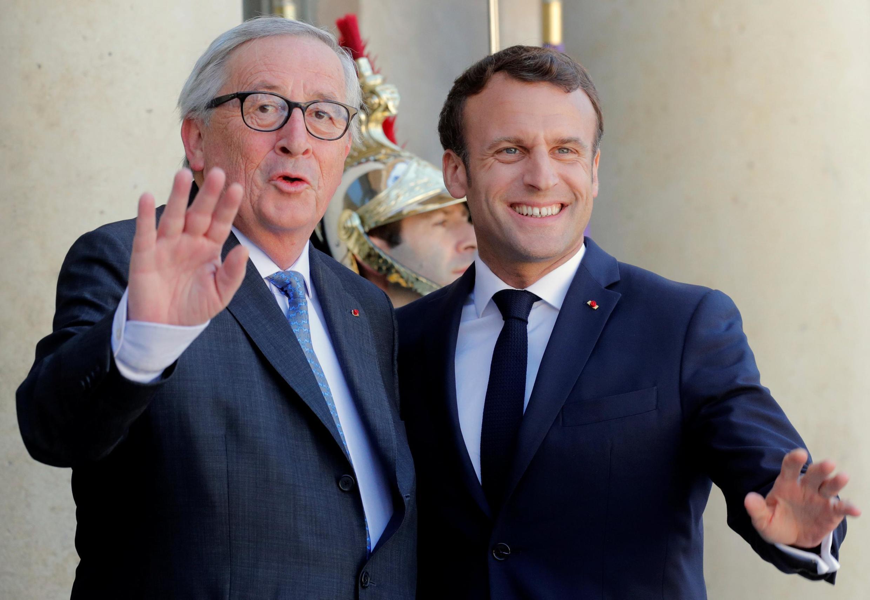 EU Commission president Jean-Claude Junker with French President Emmanuel Macron